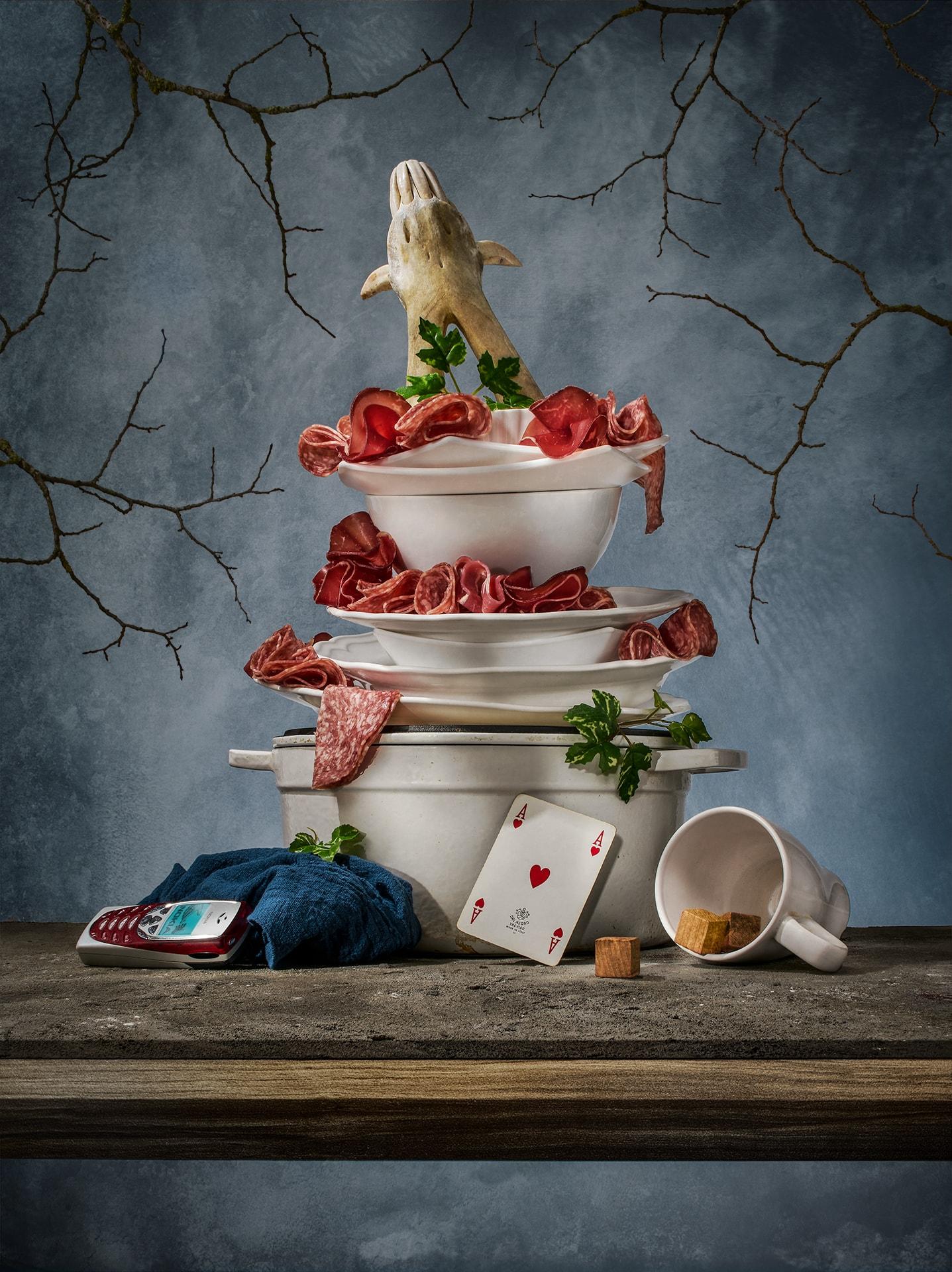 Award winning fine art photographer - food photography - Modern Old Salami - wedding cake - salumi - salami - bresaola - salame - speck - prosciutto - conceptual - San Daniele - Parma - Jamon - Bologna - Modena - Sauris